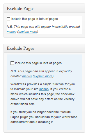 exclude pages plugin