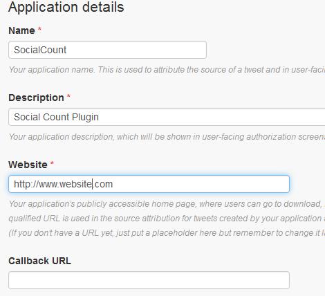 Twitter app form