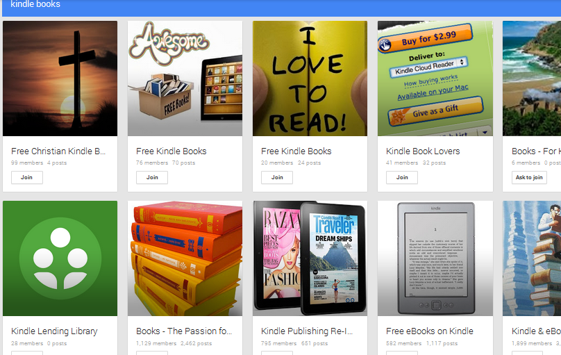 kindle book G+ communities