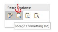 Merge formatting